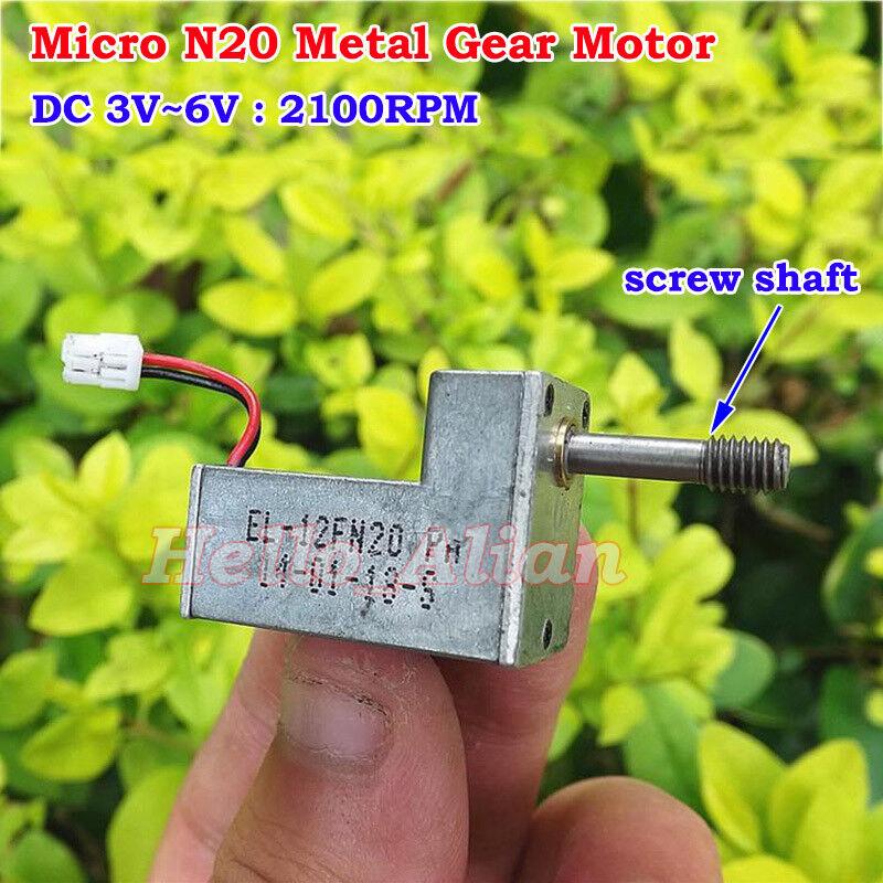DC 3V 5V 6V 2100RPM Mini N20 Metal Gear Motor Speed Reduction Motor Screw Shaft
