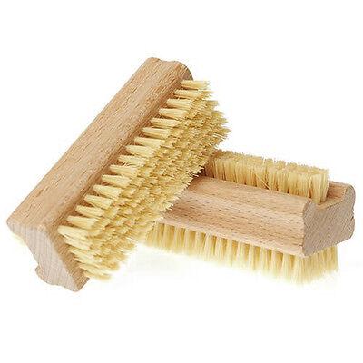 Wooden Double Sided Handle Bristle Manicure Pedicure Scrubbing Nail Bath Brush