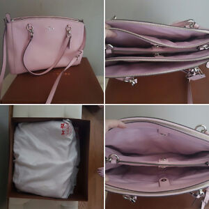 Large pink leather Coach bag with silver hardware