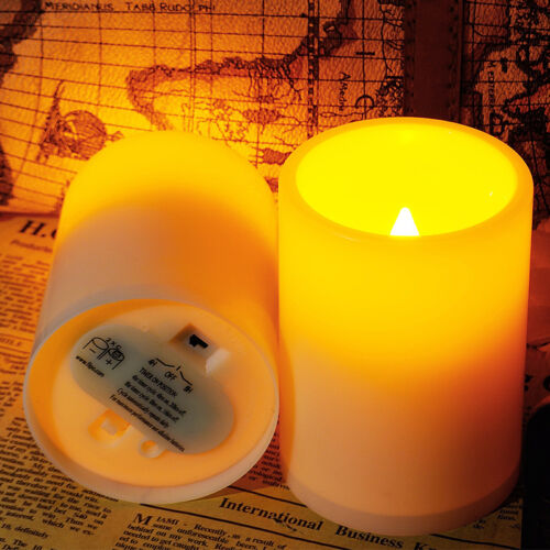 2Pcs Flickering Flameless Resin Pillar LED Candle Lights w/Timer for Home/Party