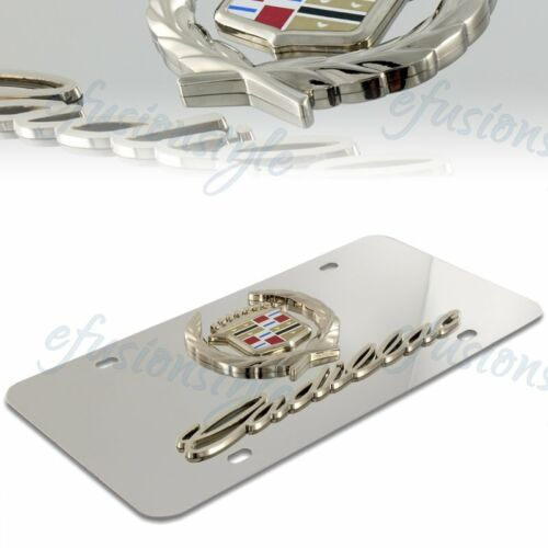 Cadillac Classic Gold Logo On Polished Stainless Steel License Plate