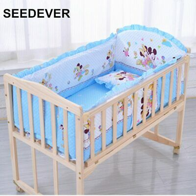 Mickey Mouse Baby Bedding Set Crib Sheet 6 pcs Nursery Boy Girl Infant Blue cuna ()