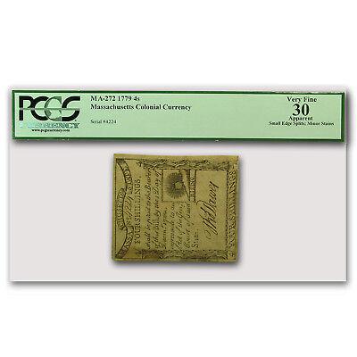 1779 4 Shillings Massachusetts Currency VF-30 PCGS