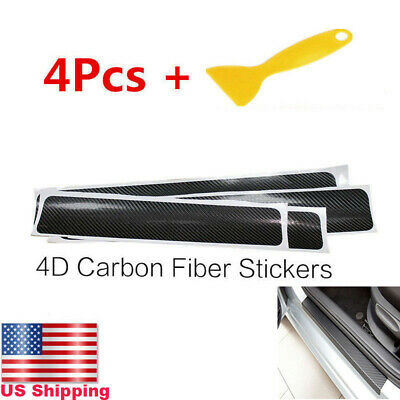 4Pc Accessories Carbon Fiber Car Scuff Plate Door Sill 5D Sticker Fit For NISSAN