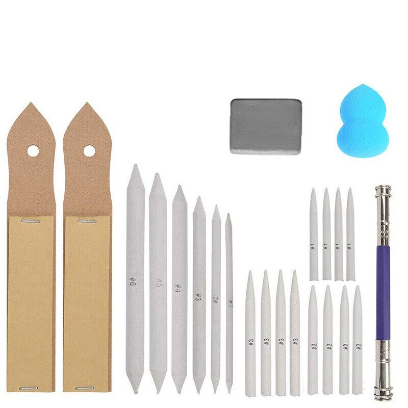 23pcs Sketch Tools Kit Blending Paper Stumps Art Drawing Eraser Extender