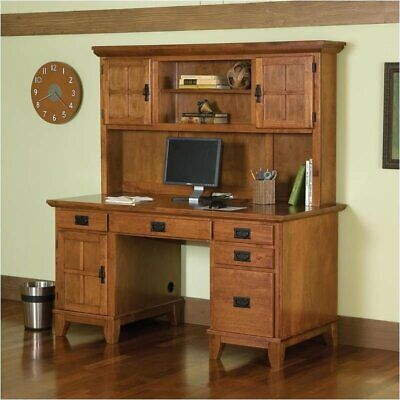 - Bowery Hill Computer Desk with Hutch in Cottage Oak