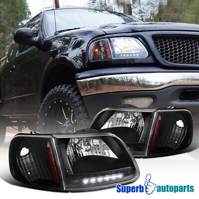 For 1997-2003 Ford F150 Expedition LED Strip Headlights Black w/ Signal Lamps