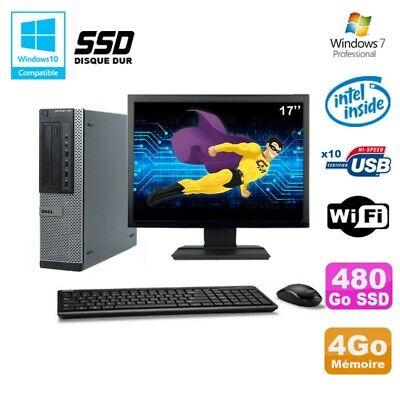 Lot PC Dell 790 DT G630 2.7Ghz 4Go 480Go SSD DVD WIFI Win 7 + Ecran 17