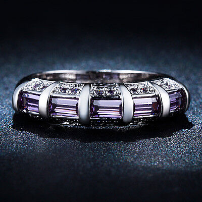 Contemporary White Gold Rings - Magnificent S925 White Gold Plated Contemporary Style Women's CZ Amethyst Rings!