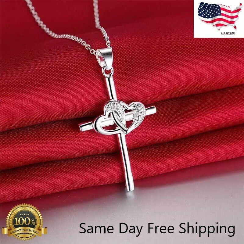 "Jewellery - Womens 925 Sterling Silver CZ Cubic Heart Cross Pendant Necklace 18"" N31"