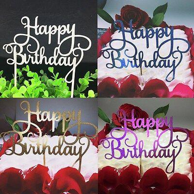 4Colors Cake Topper Happy Birthday Party Supplies Decor Fashion Practical DIY (Happy Birthday Fashion)