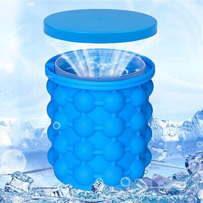 Large Ice Cube Maker Genie Silicone Ice Bucket Space Saving Big   Ice Cube Tray](Big Ice Bucket)