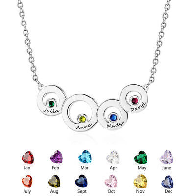 Personalised Family Necklace Name Birthstone Pendant Custom Mother