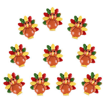 10pcs Turkey for Thanksgiving Resin Flatbacks Scrapbooking Hair Bow Crafts