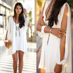 **BRAND NEW** White Chiffon Open Neck Dress