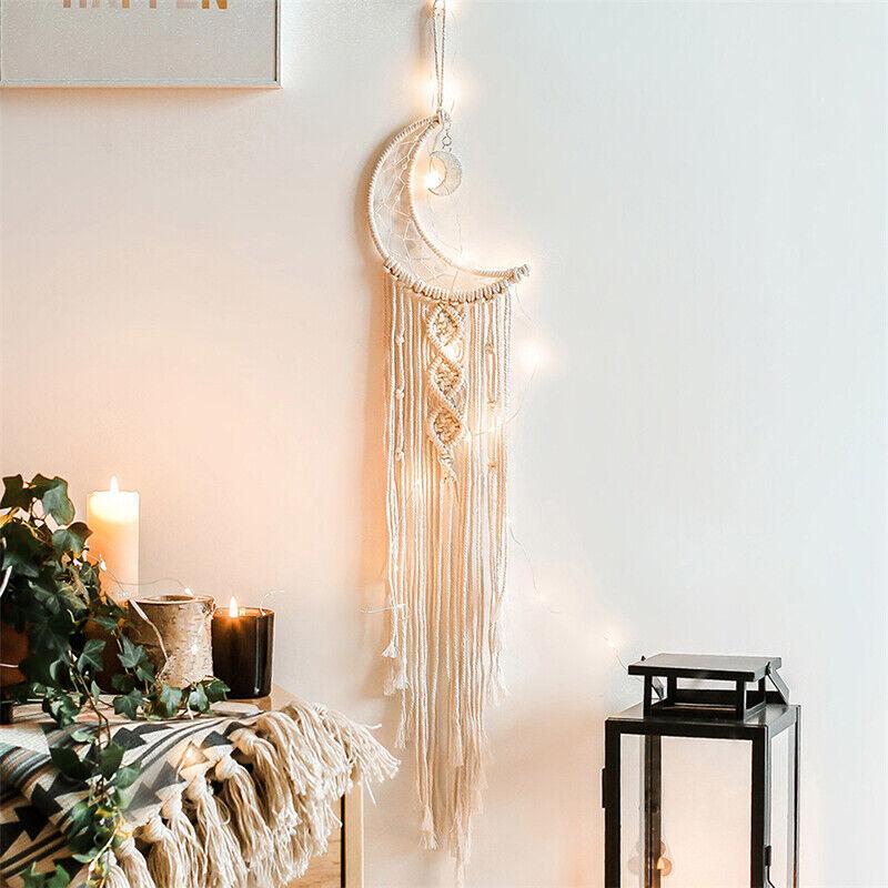 Bohemian Chic Wall Hanging Tapestry Mandala Moon Dreamcatcher Woven KnittYJXI