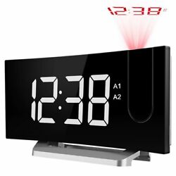 5inch Large LED Display Digital Projection Clock FM Radio Double Alarm w/ Dimmer