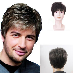 1PC Handsome New Men's Man Short Brown Mixed Cosplay Natural Hair Wigs Wig