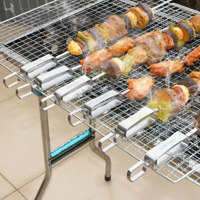 Party Skewers (Outdoor Barbecue BBQ Flat Skewers Needle Stainless Steel Kebab Stick Party)