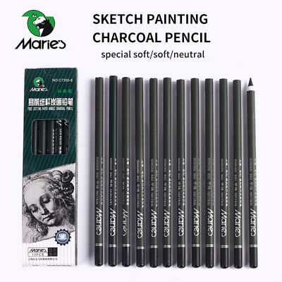 Pencil Charcoal Drawings - Marie's 12pcs Charcoal Pencil Painting Drawing Lapiz Set Student Stationery Art