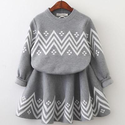 Süß Mädchen Kleid Langärmlig Geometrisches Muster Pullover Und Rock 3T 4T 5 6 7