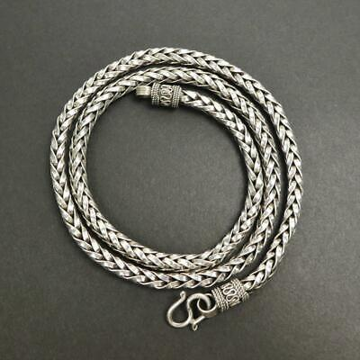 80Grams 5mm Thick 925 Sterling Silver Hand Braided Wheat Chain Mens 24