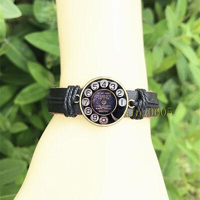 Phone Rotary Dial Black Bangle 20 mm Glass Cabochon Leather  Charm Bracelet