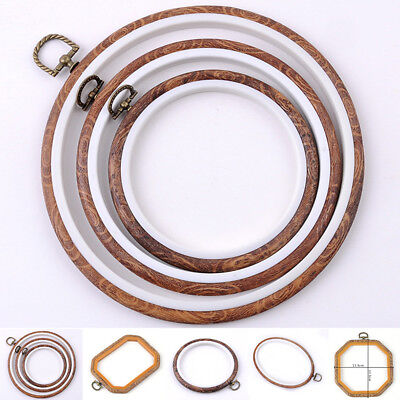 8 Size Round Cross Stitch Wood Frame Embroidery Hoop Ring Loop Sewing DIY - Craft Frames