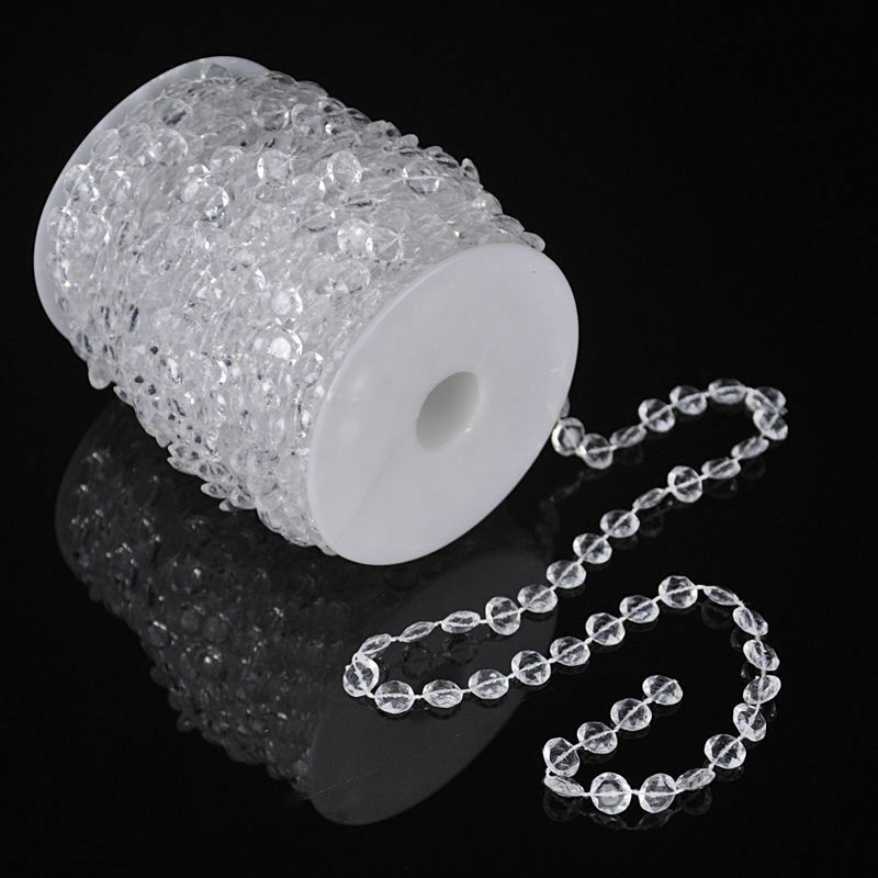 99 FT Garland Diamond Strand Acrylic Crystal Bead Beaded Wedding Decoration Home & Garden