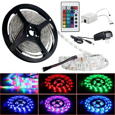 5M 3528 RGB 300 LED Strip Light Remote Control and DC12V 2A