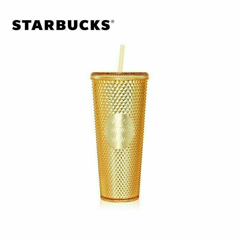 Starbucks 2020 China 24oz Gold Shinning Diamond Studded Tumbler STRAW CUP