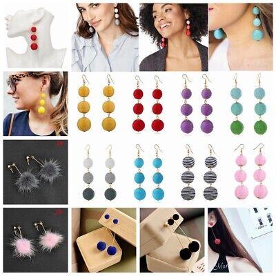 Bohemian Boho Tassel Three Ball Long Linear Ear Dangle Drop Earrings Women Party Long Linear Earrings