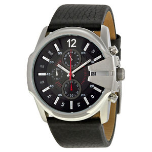 DIESEL Master Chief Chronograph Black Dial Black Leather WATCH