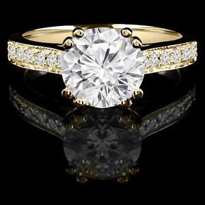 Bague de fiançailles 1.30CTW 14K Yellow gold diamond engagement ring