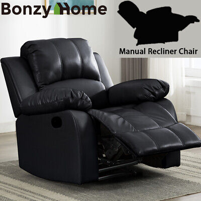 Manual Leather Recliner Overstuffed Armrest Back Chair First Class Comfortable