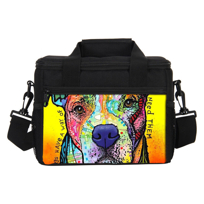 e147496ceb50 Details about Thermal Insulated Lunch Bag for School Picnic Outing Pitbull  Art Dog Printing