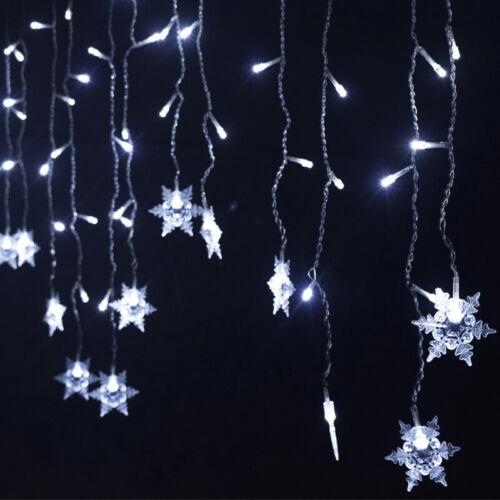 Christmas LED Curtain Window Snowflake String Fairy Lights Waterproof Xmas Decor