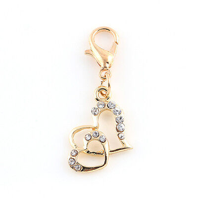 (Love Charms ONE Double Heart  Design with 13Crystals + Lobster Clasp Hook)