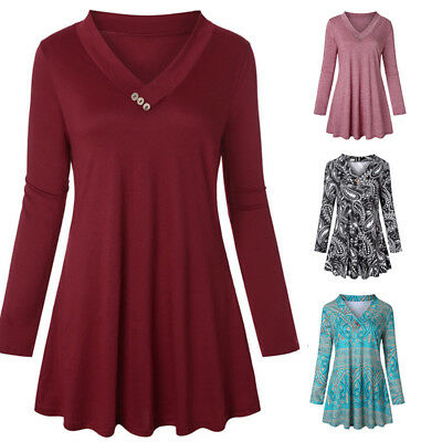 Womens V Neck Tunic Shirts V Neck Sweatshirt Cotton Casual Comfy Tops Blouse