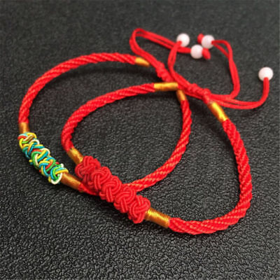 2/4X Unisex Chinese Red Thread Good Luck Rope Couples String Feng Shui Bracelet