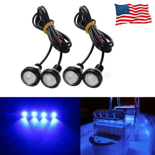 4x Blue LED Boat Light Waterproof Outrigger Spreader Transom Underwater Marine