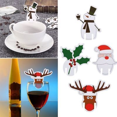 Christmas Table Decoration (10Pcs Christmas Hats Red&White Caps Wine Glass Beer Cup Table Decor Party Cap)