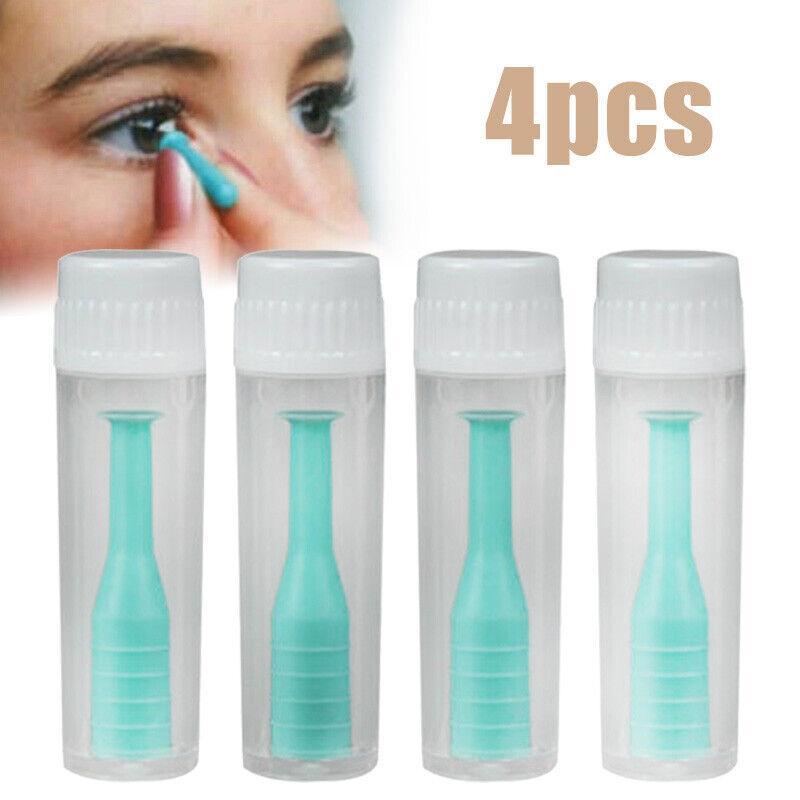 4pcs Kontaktlinsensauger für WEICHE und HARTE Kontaktlinsen Hohlsauger Pro Tool