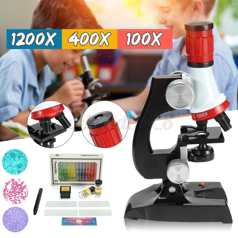 23pc 100X-1200X Starter Compound Microscope Science Kit for Kids Student US 🔥@