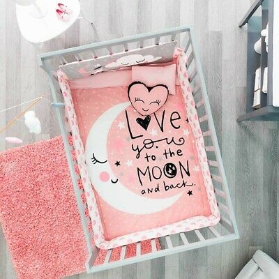 MOON AND STARS BABY GIRLS CRIB BEDDING SET NURSERY 6 PCS FOR BABY SHOWER GIFT