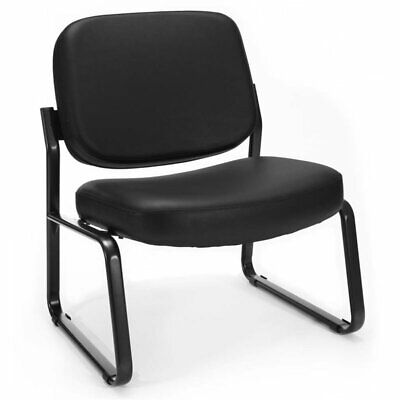 Ofm Big And Tall Faux Leather Guest Reception Chair In Black