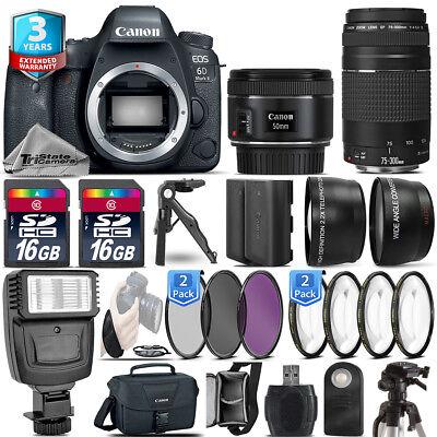 Canon EOS 6D Mark II Camera + 50mm + 75-300 + EXT BAT - 32GB Kit  + 3yr Warranty