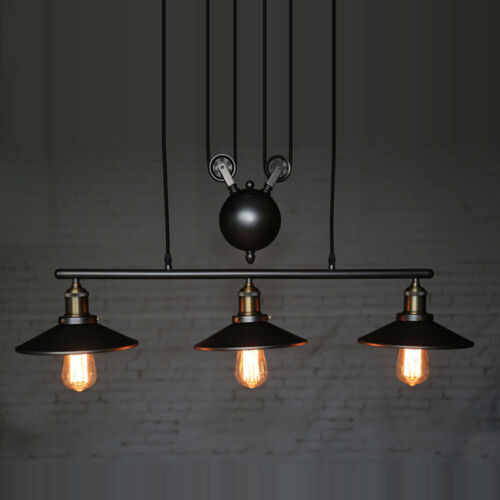 Details About Vintage Pulley Chandelier Ceiling Light Pendant Lamp Artistic Lighting Fixture