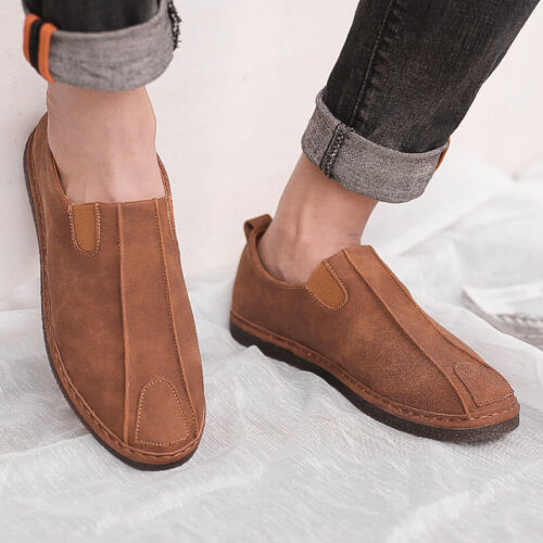 Get-in Men Suede Leather Loafers Driving Shoes Moccasins Summer Mens Casual Shoes Flat Breathable Flats,Blue,9.5,Spain