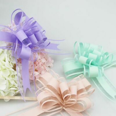 10Pcs Pull Bow Flowers Ribbons Large DIY Wedding Party Birthday Gift Wrap Decor - Pull Bow